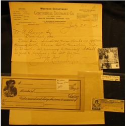 "(Muscatine Business School) Blank Check ""College Currency"", female vignette left; March, 1912 ""The K"