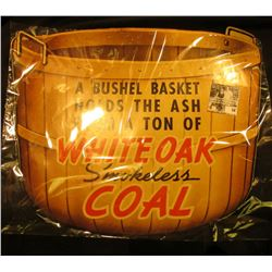 """14.5"""" x 16.5"""" Colorful Sign """"A Bushel Basket Holds the Ash From A Ton of Whiteoak Smokeless Coal""""."""