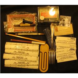 """Mess of unusual items from the """"Dr. J.W. Carberry Estate"""", includes: (8) 6"""" plastic advertising rule"""
