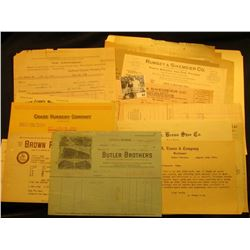 Large group of Old early 1900 era Missouri Letterheads and invoices from now defunct companies.