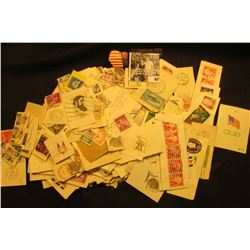 Large group of Used U.S. Postage Stamps with denomination of 4c or larger, most are attached.
