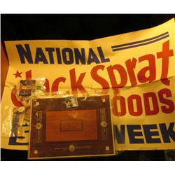 """21"""" x 32"""" Large heavy paper sign """"National Jack Sprat Foods May 5-10 Week""""; """"William Jefferson Clint"""