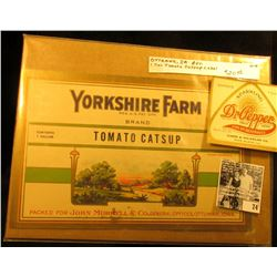 """""""Yorkshire Farm Bran Tomato Catsup Packed for John Morrell & Co., General Offices, Ottumwa, Iowa"""" Cr"""