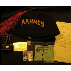 """""""AAHMES"""" Black Fez with Tassle; 1982 ANA Boston Library Pass, metal; metal clip for group of papers;"""