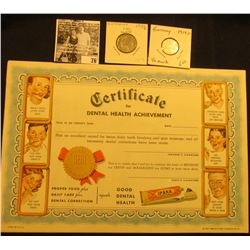 "Pair of 1947 ""Certificate for Dental Health Achievement"" advertising ""IPANA Toothpaste""; 1935J Germa"