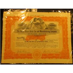 """2000 Shares """"The Baker Steam Motor Car and Manufacturing Company"""" Stock Certificate with Motor car i"""