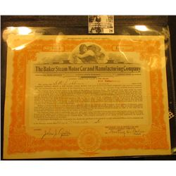 """6000 Shares """"The Baker Steam Motor Car and Manufacturing Company"""" Stock Certificate with no car impr"""