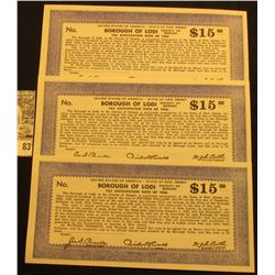 """(3) Depression Scrip $15 """"United States of America -State of New Jersey County of Bergen Borough of"""