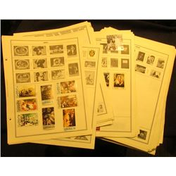 Large group of Stamp Album pages with numerous U.S. & foreign Stamps. Some mint unused condition. Ne
