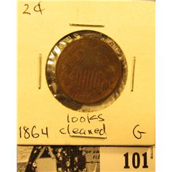 1864 U.S. Two Cent Piece, Good, possibly cleaned.