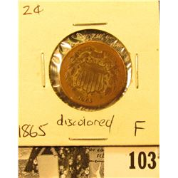 1865 U.S. Two Cent Piece, Fine, discolored.