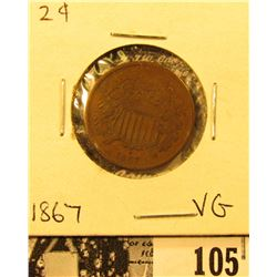 1867 U.S. Two Cent Piece, VG.