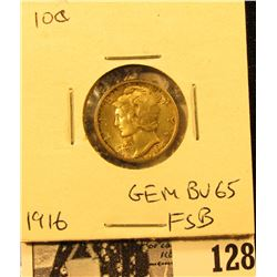 1916 P Mercury Dime GEM BU 65 FSB. Superb original toning.