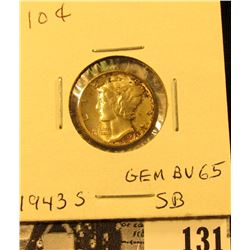 1943 S Mercury Dime GEM BU 65 SB. Superb original toning.