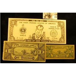 "(2) different size $1000 ""Pony Express Money"" Scrip ""Copyright 1947 by Bert J. Bratt""; & a ""The Over"