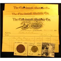 "(6) Old invoices dating 1906 from ""The Cincinnati Abattoir Co. The Pheasant Brand Hams, Lard, and Pr"
