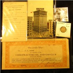"(3) 1916 College Scrip invoices ""O.W. Keeland & Co. Sales Ticker""; No. 271 Membership scrip ""Chiropr"