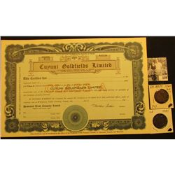 "Number 4550 ""Cuyuni Goldfields Limited"" Dominion of Canada, 1940 era. Unissued; 1860 & 1884 Great Br"