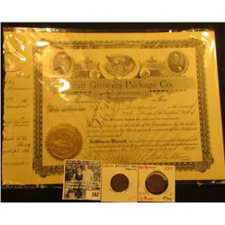 "1911 One Share Stock Certificate ""Fruit Grower Package Co…Jonesboro, Illinois, Gold notary seal, can"