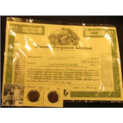 "1979 One Hundred Shares Stock Certificate ""Massey-Ferguson Limited Incorporated Under the Laws of Ca"