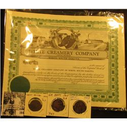 "Unissued Stock Certificate with Stub ""White Creamery Company White, South Dakota"", upper central vig"