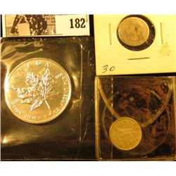 1964 Canada Silver Dimes, circulated; 1841 U.S. Seated Liberty Dime, Circulated; & 1991 .999 Fine On
