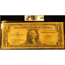 "Series 1935 A ""North Africa"" Emergency One Dollar Silver Certificate, (Yellow Seal) VG."