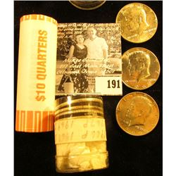 2002 P Bank-wrapped Roll of Gem BU Indiana Statehood Quarters (40 pcs); & a partial Roll of 40% Silv