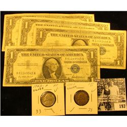 Series 1957. Series 1957A, & (2) Series 1957B One Dollar Silver Certificates; & (2) 1943 P EF Silver