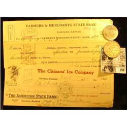 "1916 Promissory Note from ""The Fox Den Mining Company Oswego, Kansas""; 1952 Check ""The Citizen's Ice"