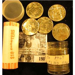 2002 D Bank-wrapped Roll of Gem BU Indiana Statehood Quarters (40 pcs); & a 1967 Roll of 40% Silver