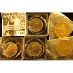 Pair of West Yellowstone Montana Medals, Brass, BU; 1971, 72, & 75 Canada Dollars in plastic cases,