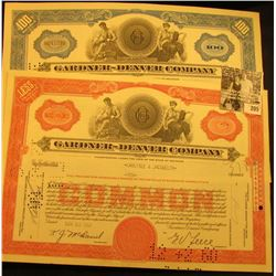 """1960 One Hundred Shares Stock Certificate """"Gardner-Denver Company"""", hole cancelled & Ten Shares Stoc"""