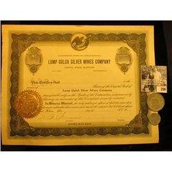 """Unissued Stock Certificate """"Lump Gulch Silver Mines…Montana"""", Gold notary seal; & .10c & $1.00 Elgin"""