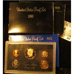 1979 S, 1981 S, & 1983 S U.S. Proof Sets, all in original boxes as issued.