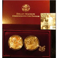 1999 P Proof & Uncirculated Dolley Madison Commemorative Silver Dollars in original case as issued.