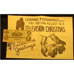 "Poster depicting a Gorilla ""Leading Psychiatrist says: You Too Can Adjust to a Television Christmas"""