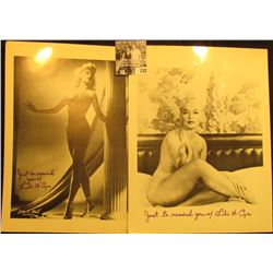 "(2) different black & white photos autographed ""Just to remind you of Lili St. Cyr"", each are 8 1/2"""