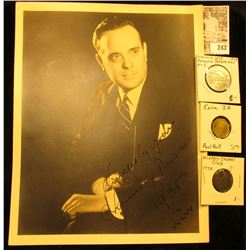 """8 1/2"""" x 11"""" Black & White autographed photo """"Sincerely Yours Chauncey Parsons 1936 WLUV""""; pair of o"""