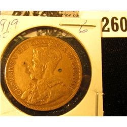 1919 Canada Large Cent, Fine, cleaned.