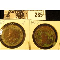 1916 & 17 Canada Large Cents, some corrosion.