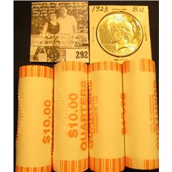 (4) 2007 D Solid Date Rolls of Gem BU Wyoming Statehood Commemorative Quarters in bank-wrapped Rolls