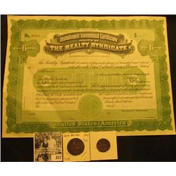 """Unissued """"Installment Investment Certificate Issued by The Realty Syndicate…United States of America"""