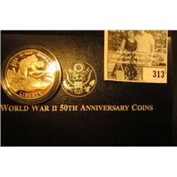 1991-1995 World War II 50th Anniversary Commemorative Coins Proof Silver Dollar. In original box as