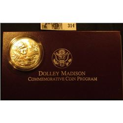1999 P Dolley Madison Gem BU .900 Fine Silver Dollar in original box of issue with literature.