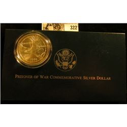 1994 W U.S. Prisoner of War Commemorative Silver Dollar, .900 fine Silver in original box of issue w