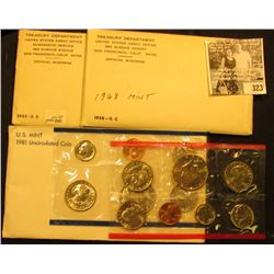 1965 U.S. Special Mint Set flat pack; 1968 U.S. Mint Set; & 1981 U.S. Mint Set, all original as issu