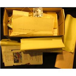 "Box full of labels ""Chloroform Liniment, U.S.P. Poison Caution""; leather cover for small book; busin"