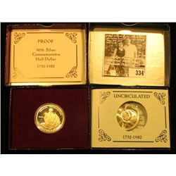 1982 D & 1982 S George Washington BU & Proof .900 fine Silver Commemorative Half Dollars in orginal
