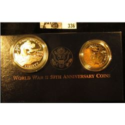 1991-1995 World War II 50th Anniversary Commemorative Two-Coin Proof Set. In original box as issued.